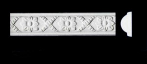 Cross Ribbon and Flower Frieze, Beading or Dado